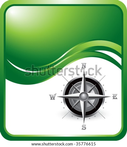 compass symbol on green wave backdrop - stock vector