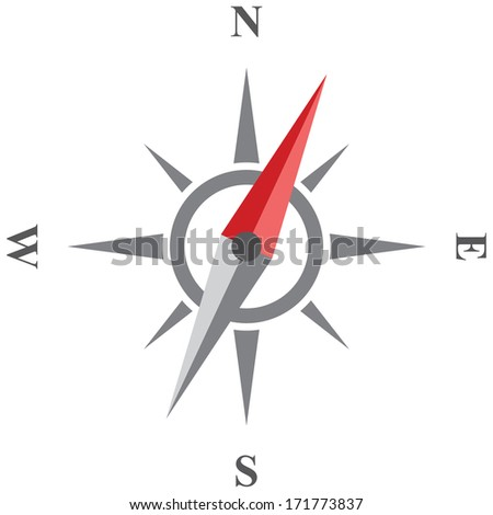 Compass vector icon. Wind rose isolated on white background.  - stock vector
