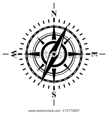 Compass with wind rose. Possible to easily change the colors and size without losing image quality. - stock vector