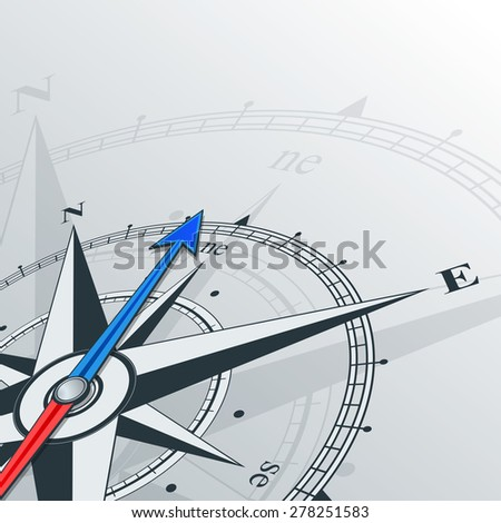 Compass with wind rose, the arrow points to the northeast. Illustrations can be used as background - stock vector
