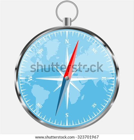 Compass with world background isolated on white, realistic vector illustration - stock vector