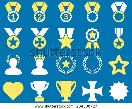 Competition & Success Bicolor Icons. This icon set uses yellow and white colors, rounded angles, blue background. - stock vector