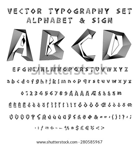 Complete Alphabet & Sign Vector Typography Set Blend Mode Editable - stock vector
