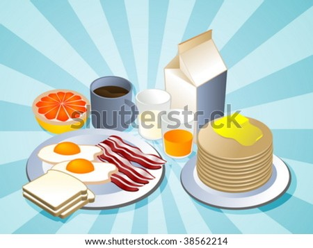 Complete breakfast with bacon pancakes coffee milk - stock vector