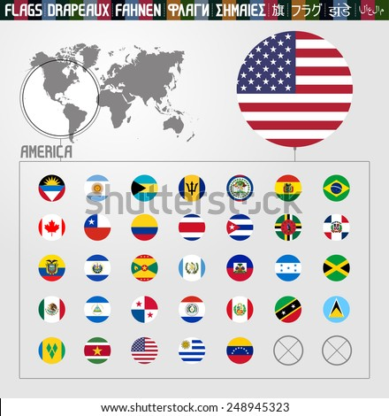 Complete flag collection, round shapes, America - stock vector