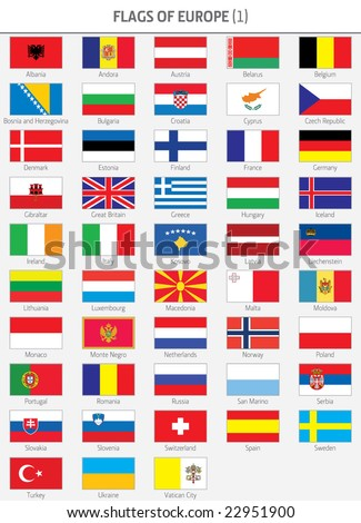 Complete Flags of European States - stock vector