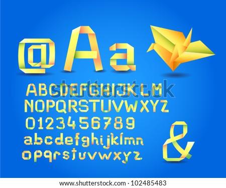 Complete origami alphabet - stock vector