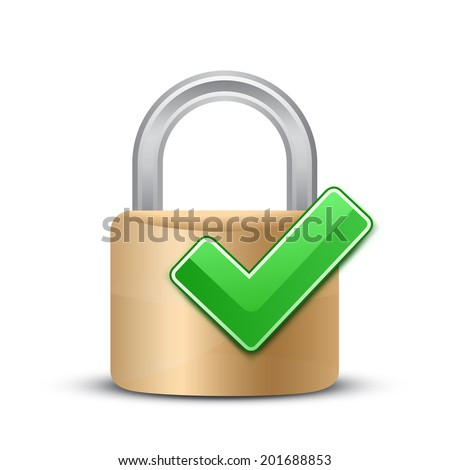 Complete protection sign. Security Concept. Vector illustration of padlock and green check mark - stock vector
