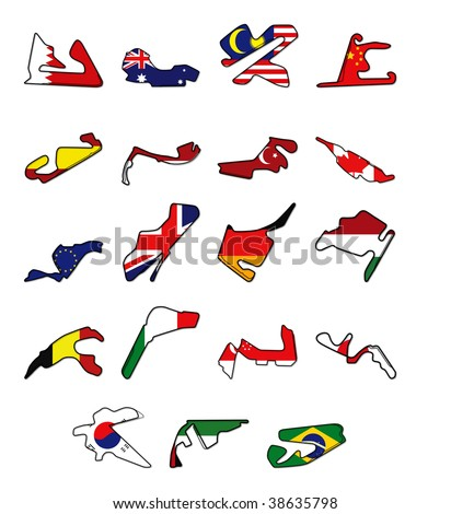 Complete set of circuits for F1 2010 season - stock vector