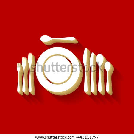 Complete set of silverware for dinner. White button icon with wood color and shadow on dark red background. - stock vector