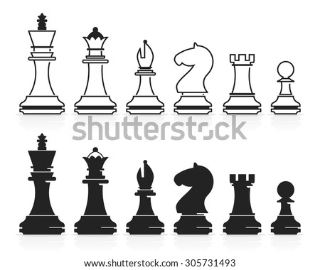 Complete set of vector chess pieces - stock vector