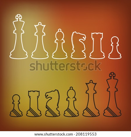 Complete set of vector silhouettes chess pieces - stock vector