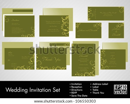 Complete set of wedding invitations or announcements with floral decorative artwork. EPS 10. - stock vector
