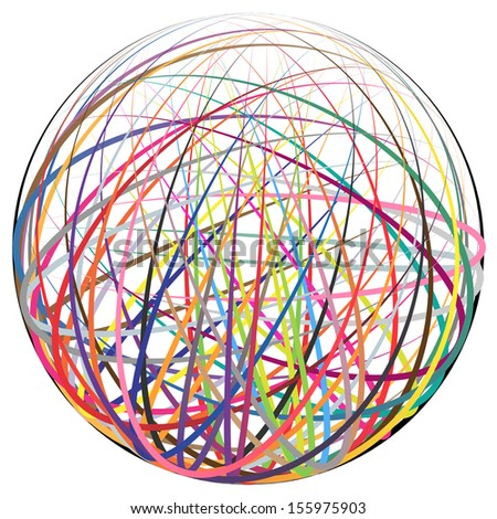 Complex ball made of many colorful curved strings - stock vector