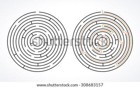 Complex circle maze. Black linear vector labyrinth  - stock vector