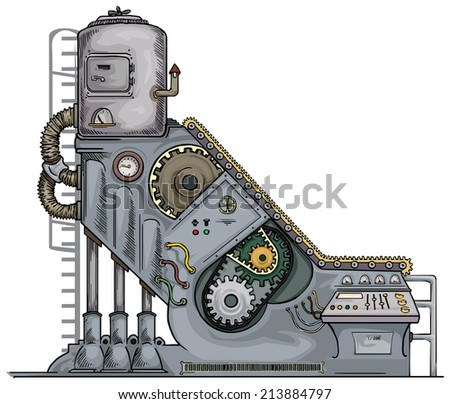 complex fantastic machine with gears, levers, pipes, meters, production line - stock vector