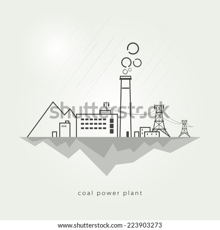 Complex industrial facilities with the power line. Vector illustration - stock vector