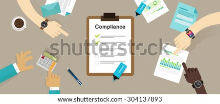 compliance board company policy check list  - stock vector