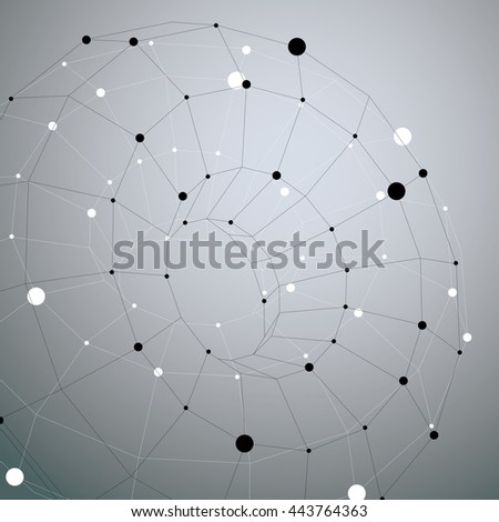 Complicated abstract gray scale 3D shape, vector digital lattice object. Technology theme. - stock vector