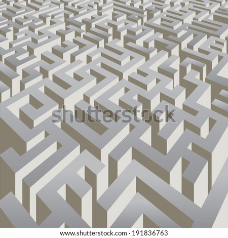 Complicated labyrinth corridors. Vector illustration - stock vector