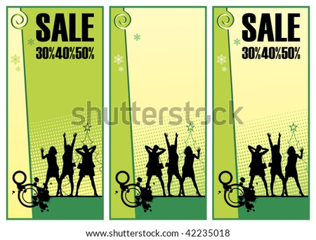Composition consisting of three illustrations. On them silhouettes of women are represented. Over them inscription SALE is located. - stock vector