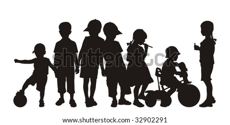 Composition from children's silhouettes. On a white background silhouettes of boys and girls are located. One boy sits on a bicycle. - stock vector