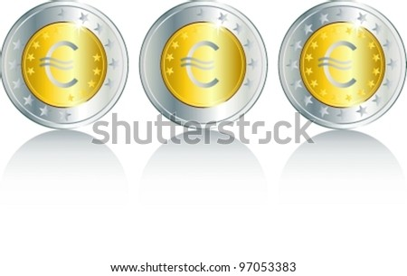 Composition from shining coins. Vector illustration (EPS8). All parts (object) closed, possibility to edit, without transparence. - stock vector