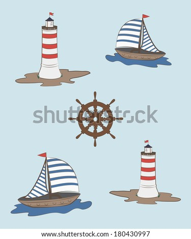 composition of a sailboat, sea and lighthouse helm - stock vector