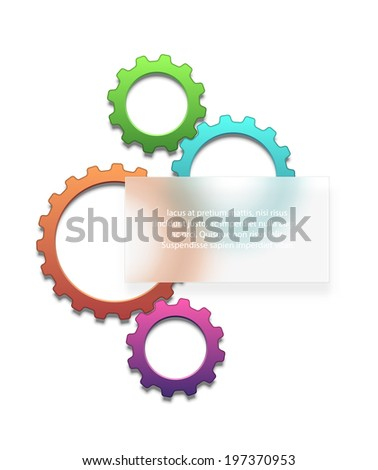 Composition of colored gears with a frosted glass as a placeholder for your text. EPS10 vector. - stock vector