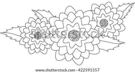 Composition of dahlia with  leaves. Coloring. Vector. - stock vector