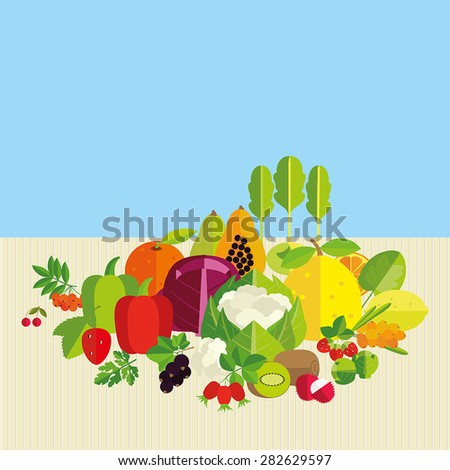 Composition of fresh vegetables, fruits and berries with the highest vitamin C content. Basics of healthy nutrition. - stock vector