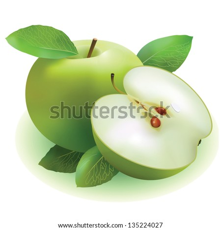 composition of green apples on a white background - stock vector