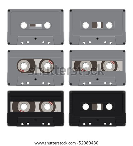 Composition of the six audio cassettes. Cassettes have a different design. They are located on a white background. - stock vector