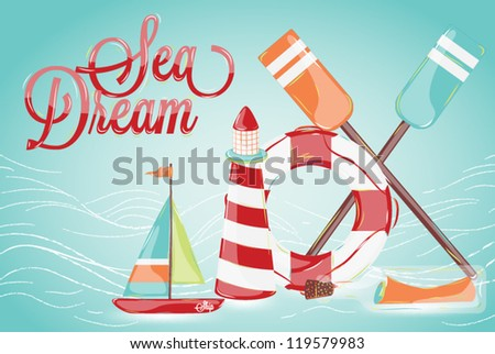 Composition on the marine theme with a lighthouse, ships, sailboats, oars bottle with a message - stock vector
