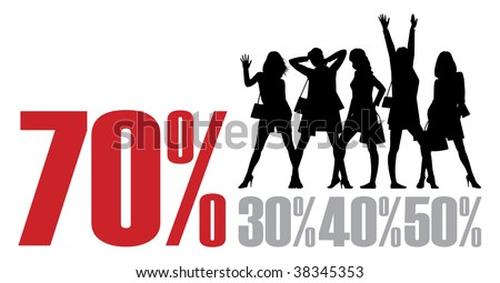Composition with female figures. Five black figures on a white background. Near to them percent are located. - stock vector