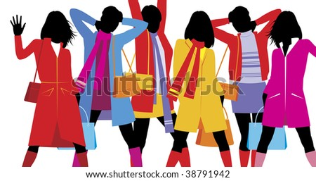Composition with female figures. On six silhouettes the bright clothes are dressed. They are located on a white background. - stock vector