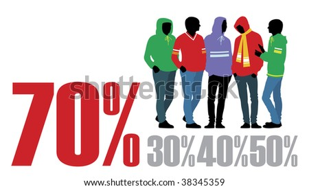 Composition with figures of teenagers. Five figures are dressed in bright clothes. Near to them percent are located. - stock vector