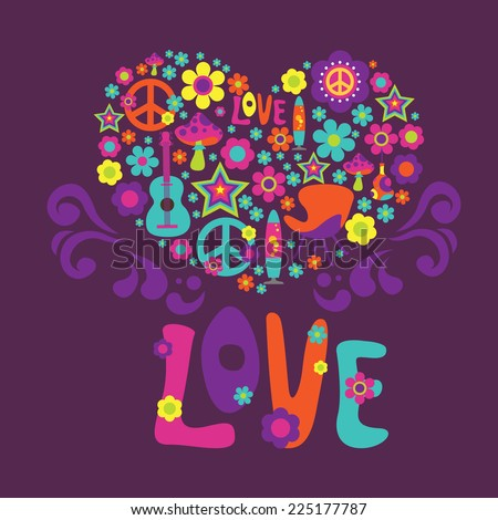 Composition with floral heart and  psychedelic elements - stock vector
