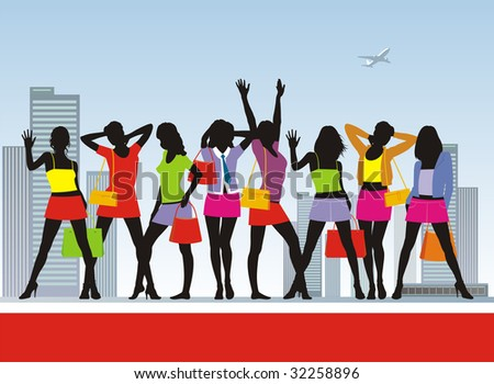 Composition with girls and purchases. Eight girls in bright summer clothes. In hands at them packages with purchases. - stock vector