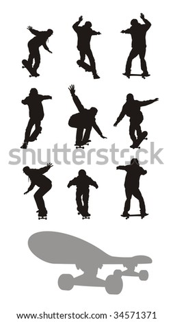 Composition with nine silhouettes of teenagers going on skateboards. All silhouettes of black colour. Under them the skateboard silhouette is located. - stock vector