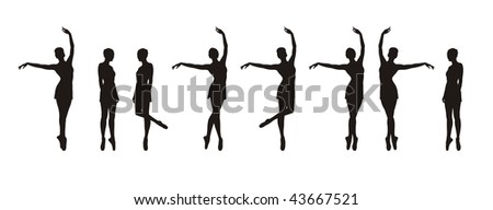Composition with silhouettes of ballerinas. Eight black silhouettes in different movements. They are located on a white background. - stock vector
