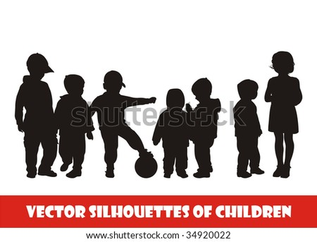 Composition with silhouettes of children. On a white background seven silhouettes of children are located. All children of different age. - stock vector