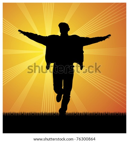 Composition with the image of a man's silhouette. The man runs on a grass. On a distance shot the sun shines. - stock vector