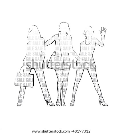 Composition with three female silhouettes. On silhouettes there is inscription SALE. They are located on a white background. - stock vector