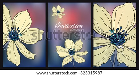 Composition with wild clematis flowers for wedding printing products: cards, invitations, menu. Pale yellow flowers on abstract dark background.  - stock vector