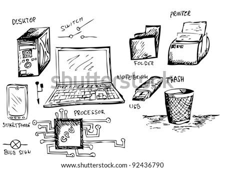 computer accessories - stock vector