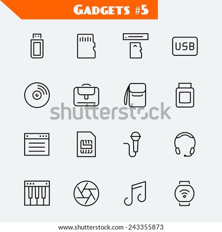 Computer accessories and gadgets icon set: flash drive, memory card, card reader, usb hdd, cd, laptop bag, camera bag, toner, soft, sim card, microphone, headset, synthesizer, shutter, smart watch - stock vector