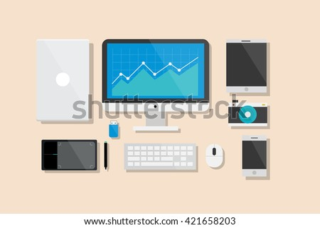 Computer and Electronic Device Flat Design Vector Illustration Element Icons Set - stock vector