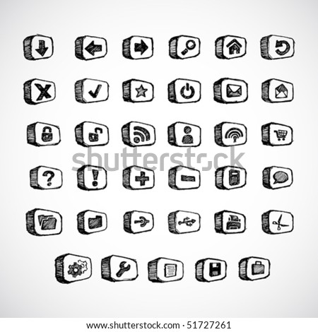 Computer and internet icon set sketch/doodles - stock vector