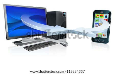 Computer and mobile phone connecting or synchronising via wireless technology concept - stock vector